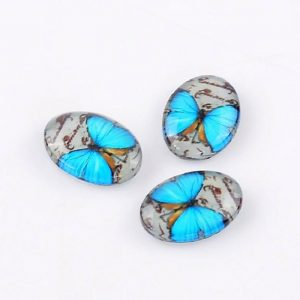 Blue Colour Butterfly Glass Cabochons