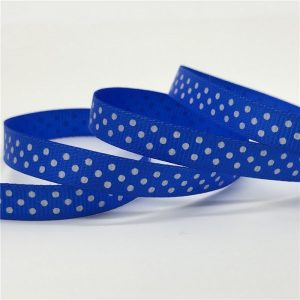 Polka Dots Blue Grosgrain Ribbon