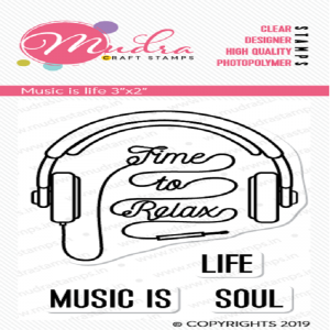 Mudra Clear Stamp - Music Is Life