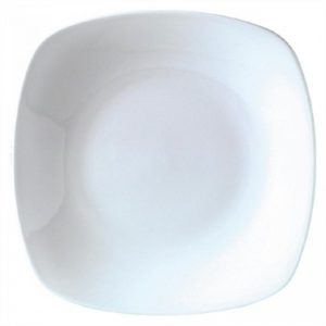 White Round Square Glass Plate