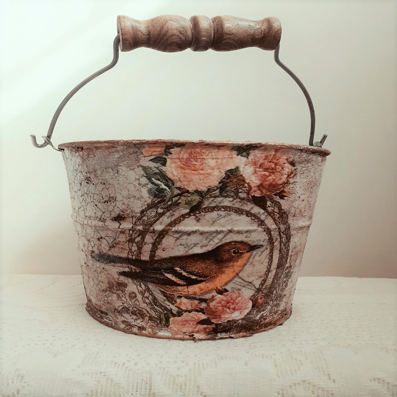 Decoupage On Galvanized Metal Buckets By Vidhu Thareja