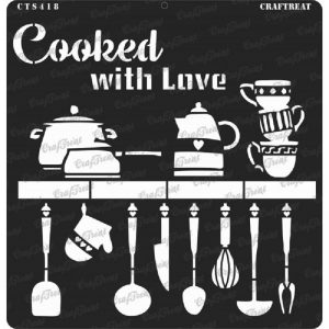 CrafTreat Stencil - Cooked With Love 12 x 12