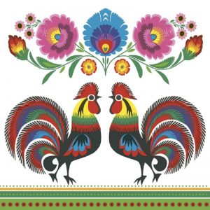 Two Roosters Decoupage Napkin