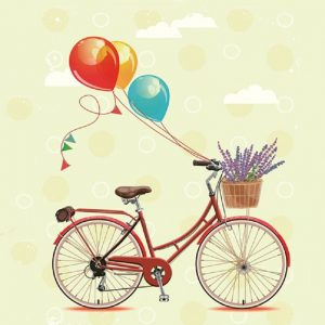 Cycle With Balloon Decoupage Napkin