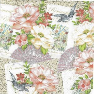 Romantic Flowers Decoupage Napkin