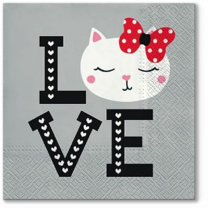 Hello Kitty Love Decoupage Napkin