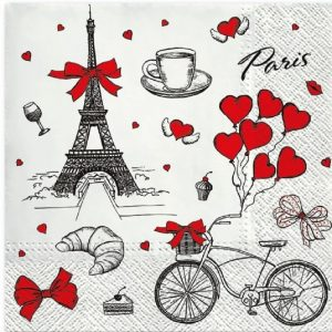 Paris Love Theme With Hearts Decoupage Napkin