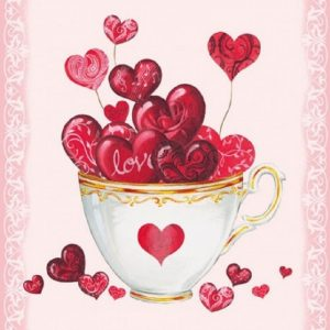 A Cup Of Hearts Decoupage Napkin