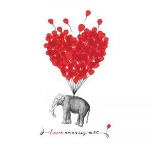Elephant With Red Balloon Decoupage Napkin