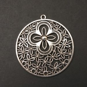 German Silver Circle With flowers Pattern Pendant