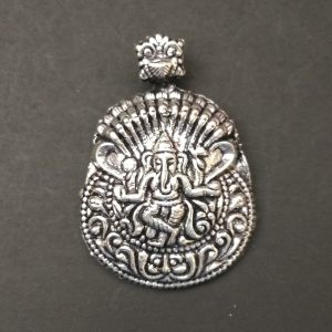 German Silver Ganesh with Snake Pattern Pendant