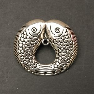 German Silver Dual Fish Pattern Pendant