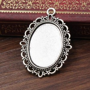 Antique Silver Oval Pendant Base