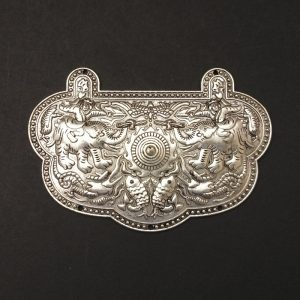 German Silver Elephant with Fish Pattern Pendant