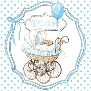 Welcome With Blue Balloon Decoupage Napkin