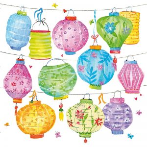 Mixed Colour Lanterns Decoupage Napkin