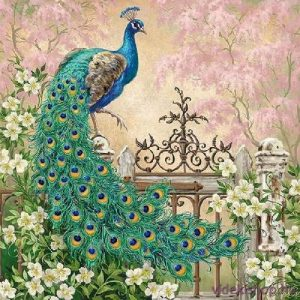Peacock In The Garden Decoupage Napkin