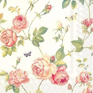 Rambling Rose In Cream Decoupage Napkin