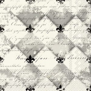 Black And White Fleur De Lis Decoupage Napkin