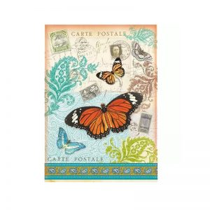 Stamperia Rice Paper - Post Card With Butterfly