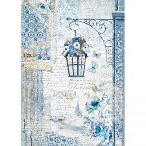 Stamperia Rice Paper - Blue Land Lamp