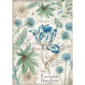 Stamperia Rice Paper - Blue Tulip