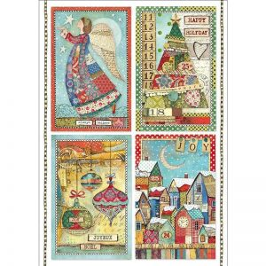 Stamperia Rice Paper - Patchwork Postcards