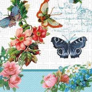 Black With Colorful Butterflies Decoupage Napkin