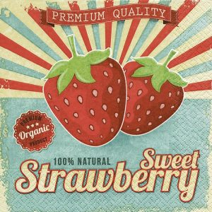 Sweet Strawberry Decoupage Napkin