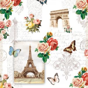 Eiffel Tower With Roses And Butterflies Decoupage Napkin
