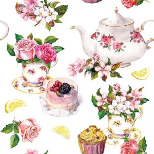 Teapot With Flower Decoupage Napkin