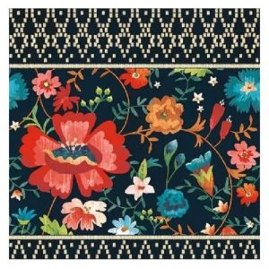 Flowers In Navy Blue Background Decoupage Napkin
