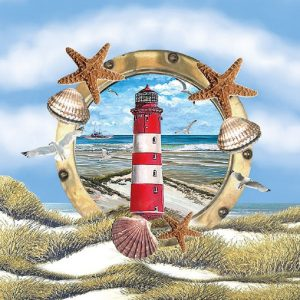 Lighthouse With Shells Decoupage Napkin