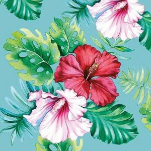 Hibiscus Flower In Teal Blue Background Decoupage Napkin