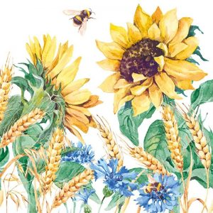Sunflower In White Background Decoupage Napkin