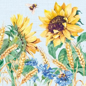 Sunflower In Blue Background Decoupage Napkin