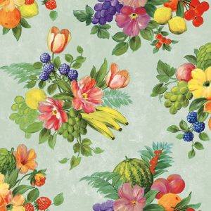 Fruits And Flowers In Green Decoupage Napkin