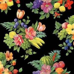 Fruits And Flowers In Black Decoupage Napkin