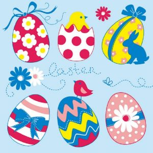 Easter Eggs In Blue Background Decoupage Napkin