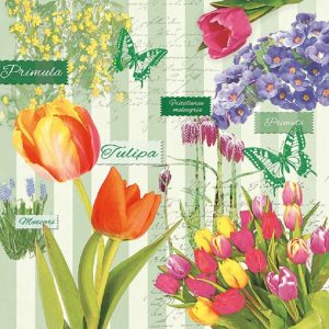 Tulip Flowers In Green Background Decoupage Napkin