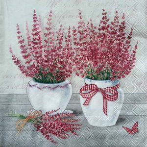 Red Small Flowers In White Pot Decoupage Napkin