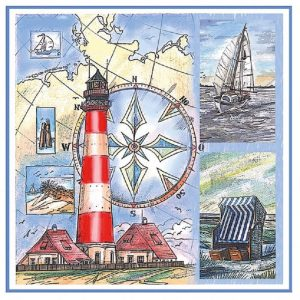 Lighthouse With Boat Decoupage Napkin