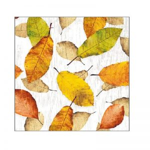 Golden Leaves Decoupage Napkin