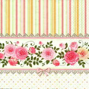 Roses With Stripes Decoupage Napkin