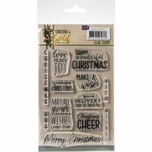 Find It Trading - Amy Design Clear Stamps - Text Christmas In Gold