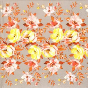 Yellow And Peach Flowers Decoupage Napkin