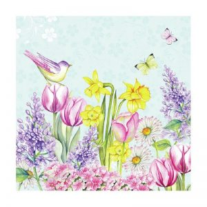 Flowers With Lavender Bird Decoupage Napkin