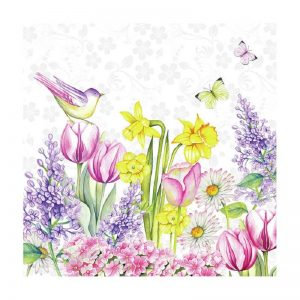 Pink And Yellow Flower With Bird Decoupage Napkin