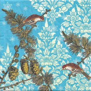 Birds With Ornaments Blue Background Decoupage Napkin