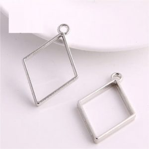 Antique Silver Rhombus Pendant Blank Frame